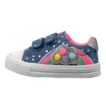 Buckle My Shoe Girls Polka Dot Demin Blue Canvas Shoes Trainers
