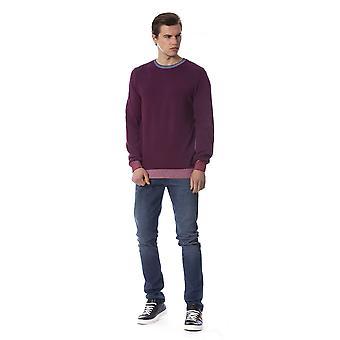 Trussardi Jeans Two Tone Burgundy Bird Sweater