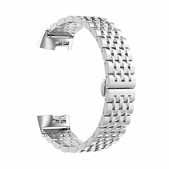 Aquarius Metal Stainless Steel Replacement Strap Band voor Fitbit Charge 3, Zilver
