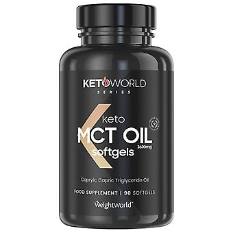 Pure MCT Oil - 1200 mg 90 Capsules (1 Month Supply) - Keto MCT Supplement, Keto Diet & Weight Management Tablets, Vegan-Friendly, Carb Free Pills