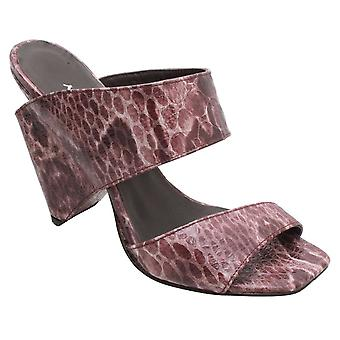 Audley Brown Snake Skin Effect Leather Mule Shaped 2 Strap Sandal