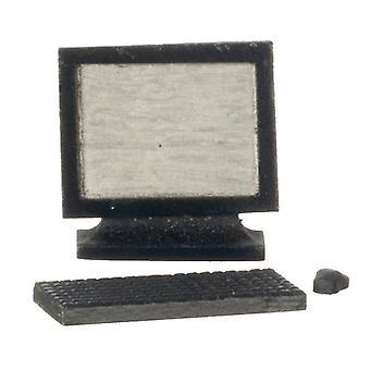 Nuket Talo Musta Tietokone Moderni Miniatyyri Toimisto Opiskelu lisävaruste