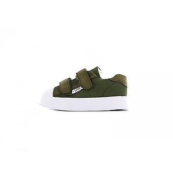 SHOESME Velcro Canvas & Leather Shoe Green