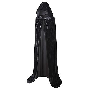 "Txian full length hooded velvet cloak halloween christmas fancy cape costumes 59"" (black) black"