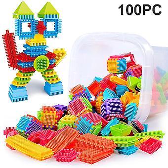 100pcs 3d Bristle Shape Building Blocks Tiles - Construction Playboards