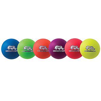 Rhino Skin 6-inch Low Bounce Dodgeball Set, Surtido de Colores Neón, Conjunto de 6