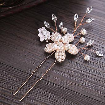 Rose Gold Prom Bride Bridesmaid Hair Accessories, Pearl Pin Clip, Luxury