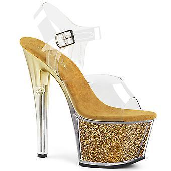 Pleaser Women's Schoenen SKY-308G-T Clr/Gold Multi Glitter Inserts