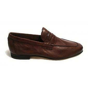 Shoes Men's Ancient Leather Shop Moccass classico Mod. Oyster Pelle Col. Mahogany Us18ac06