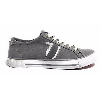 Sapatos masculinos Trussardi Jeans Tênis Cinza/Cinza Canvas Borracha Bottom Us17tj15