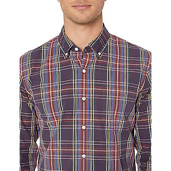 Goodthreads Men's Standard-Fit Long-Sleeve Gingham Plaid Poplin Shirt, Blue/B...