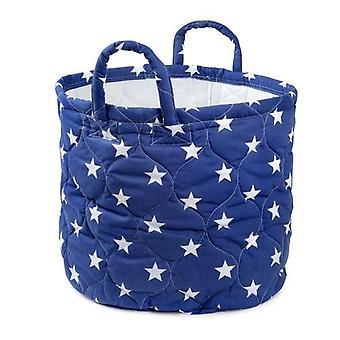 Foldable Blue Star Storage Bin Closet Fabric Basket