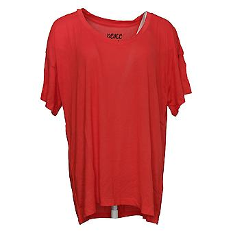 Peace Love World Women's Top V-Neck Short Sleeve Red A377758