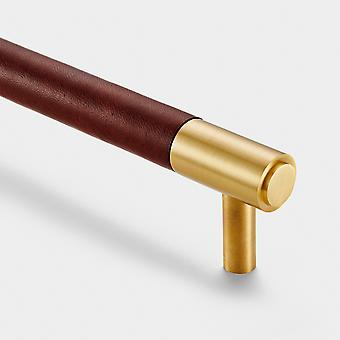 Brass Bar Handle - Gold - Hole Centre 130mm - Brown Leather