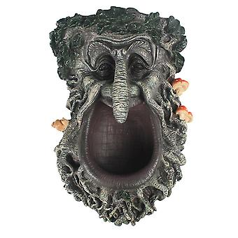 Tree Face-shaped Birds Feeder With Big Open Mouth Resin Craft Treeman Statue