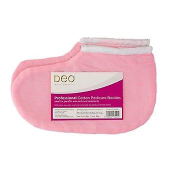 Chaussons professionnels DEO pour traitements pédicure de cire de paraffine - Rose - Coton