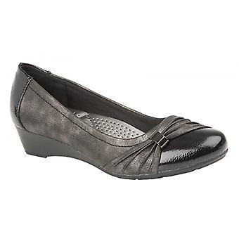 Boulevard L058ap Ladies Heeled Slip On Shoes Black Patent/pewter