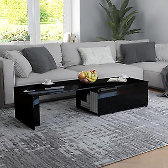 vidaXL Table basse noir brillant 150 x 50 x 35 cm Panneau de particules