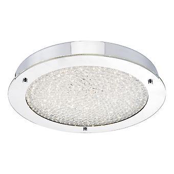 DAR PETA Runde große LED Flush Deckenleuchte poliert Chrom & Kristall Perlen IP44