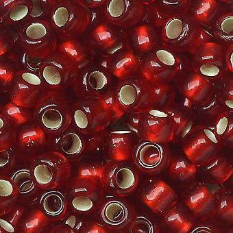 Perline di semi di toho, round 6/0 #25CF 'Rubino smerigliato foderato d'argento', 8 grammi