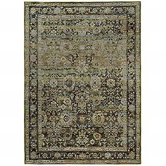 2'x3' Green and Brown Floral Area Rug
