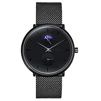 SUPBRO Minimalist quartz thin men's watches with black mesh strap(1)