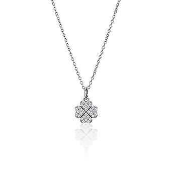 Eye Candy, women's necklace, ECJ-NL0092, with clover-shaped pendant, sterling 925 silver, with 32 zirconia Ref stones. 4045425027948