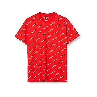ORIGINAL PENGUIN Script Logo Tee T-Shirt, Röd (Högrisk röd 620), Stora Män