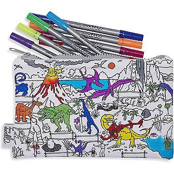 FengChun Dinosaur Pencil case to Colour in, Fun Educational Dinosaur Adventure Scene to Personalise,