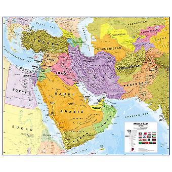 Medel Mellanöstern vägg karta politisk (laminerad)