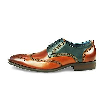Azor Missori Formal Leather Lace Brogues Shoes - Tan/teal