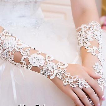 Gants de mariée de mariage en dentelle longue