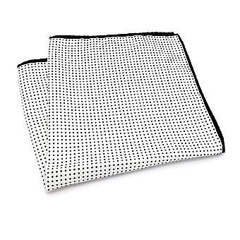 Valkoinen & tummansininen Polka piste suuri 33cm tasku neliö