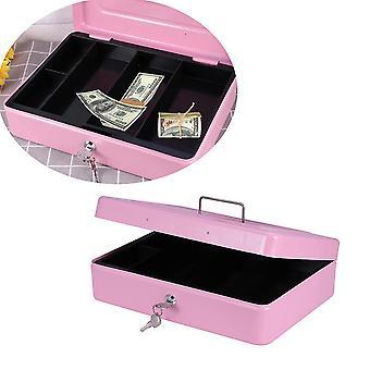 Ylisuuri vaaleanpunainen paksunna kassalaatikko lukolla kannettava kolikkopeli metallinen rahalaatikko kaksinkertaisella kerroksella (vaaleanpunainen) dt3961