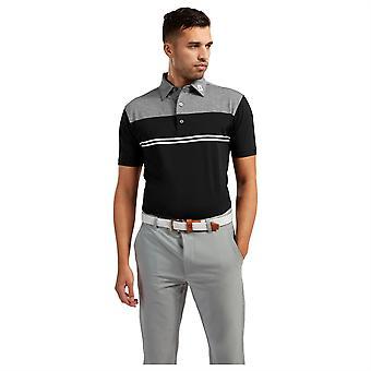 Footjoy Mens Block Lisle Polo Shirt Short Sleeve Performance Buttons Top