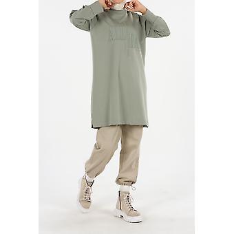 Embroidered Raglan Sleeve Sweatshirt Tunic
