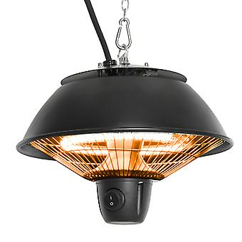 Outsunny 600W Electric Heater Ceiling Hanging Halogen Light with Adjustable Hook Chain Black Aluminium Frame