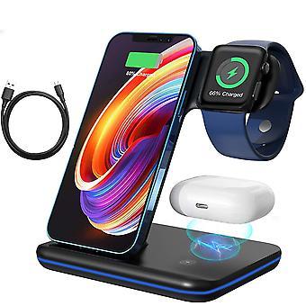 Bezprzewodowa ładowarka, uaktualnienie 3 w 1 Bezprzewodowa podstawka do dokucza do ładowania dla i / Phone 8 / 9 / 10 / 11Serie Apple Watch AirPods i telefonów z systemem Android, (czarny)