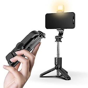 Portable mobile phone bluetooth remote control selfie stick with fill light for live