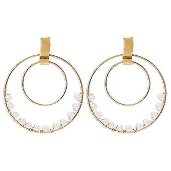 Earrings Exaggerated Double Rings Round Ring Artificial Pearl Jewelry For Party