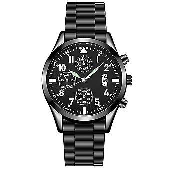 Quartz Wristwatch Classic Calendar Mens Business Steel Watch(01 Black-Black)