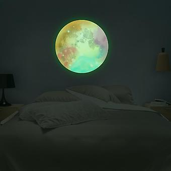 Swotgdoby Glowing Colorful Moon Wall Decor Sticker For Home Ceiling Baby Kids Nursery Room Decoration