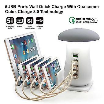 多機能電話スタンド5ポート充電器(USプラグ)