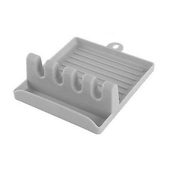 (Grey) Heat Resistant Spoon Rest Cooking Utensil Silicone Spatula Holder Kitchen Tools