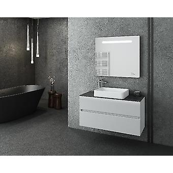 Set Mobili Luxus , Colore Grigio, Bianco in LPB, Truciolare Melaminico, Alluminio, ABS, Ceramica, Vetro, Unita' Base con Lavabo: L100xP40xA50 cm