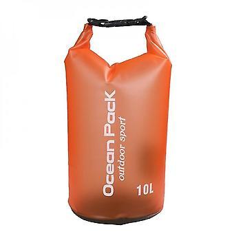 Orange 5l waterproof storage bag dry bag outdoor sports drifting bucket bag beach travel water barrel lc1013