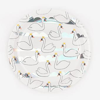 Swan Paper Plates Iridescent Party X 8