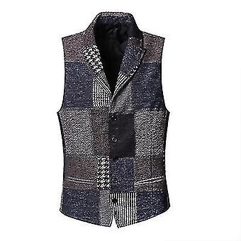 Spring Stitching- Retro Patch Plaid Woolen Casual Slim Waistcoat