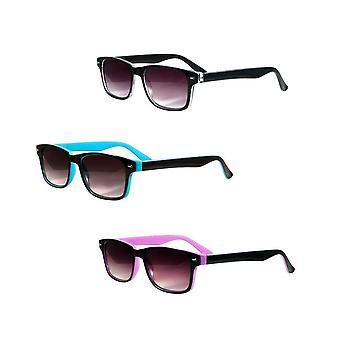 """The Summerville"" 3 Pair of Full Reading Sunglasses (non bifocal) - Outdoor Sun Readers for Men and Women - Black/Blue/Purple - 3.00"