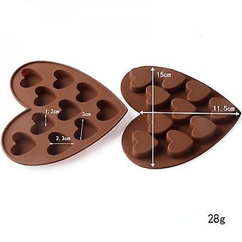10 Heart-shaped Silicone Chocolate Biscuit Candy With Mold